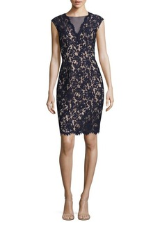 Vince Camuto Back-Cutout Lace Sheath Dress