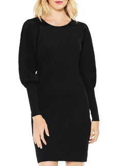 VINCE CAMUTO Balloon Sleeve Jacquard Sweater Dress