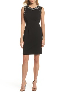 Vince Camuto Bead Embellished Crepe Shift Dress