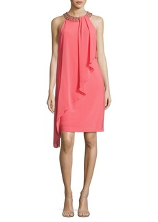 Vince Camuto Beaded Asymmetric Overlay Dress