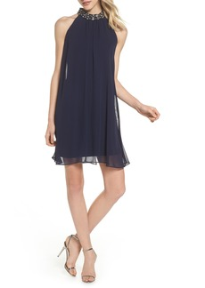 Vince Camuto Beaded Collar Trapeze Dress