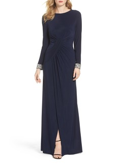 Vince Camuto Beaded Cuff Ruched Jersey Gown