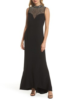 Vince Camuto Beaded Illusion Mock Neck Gown
