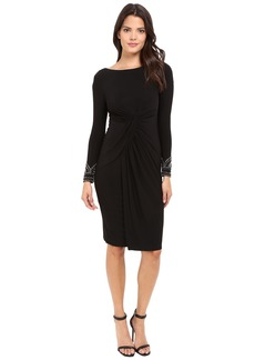 Vince Camuto Beaded Long Sleeve Dress with Front Shirring