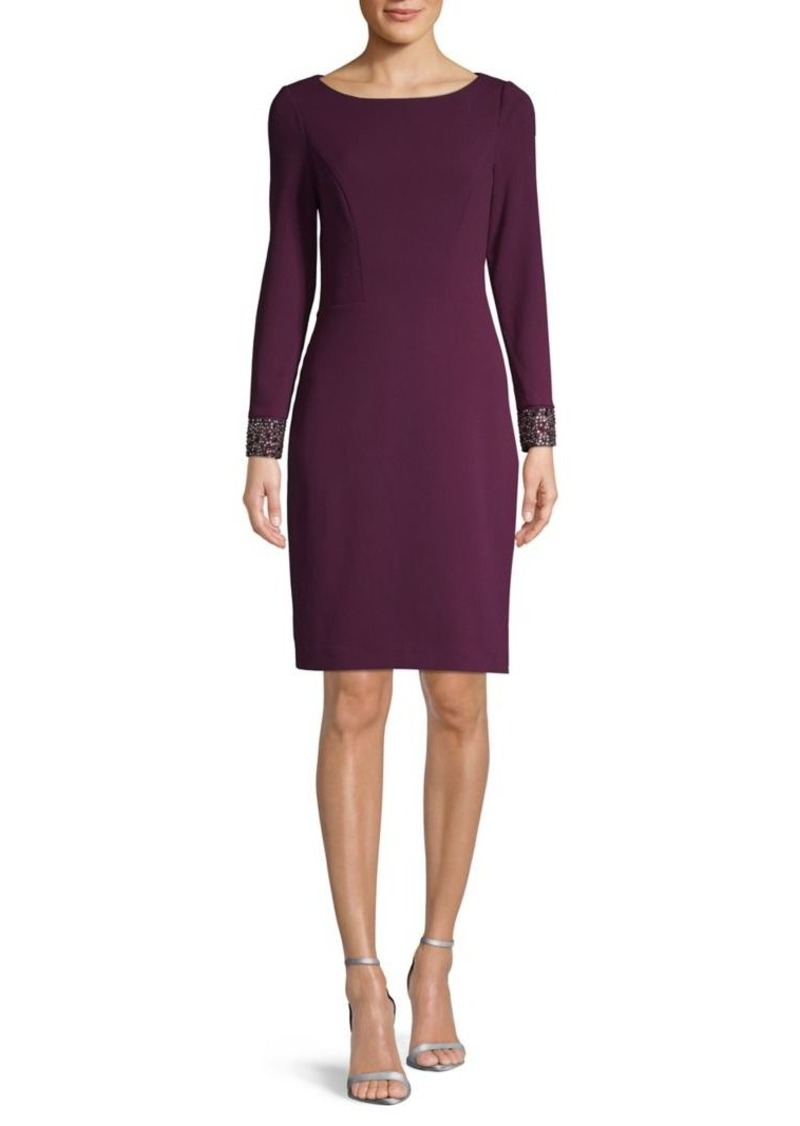 Vince Camuto Beaded Long-Sleeve Sheath Dress