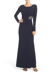 Vince Camuto Beaded Waist Jersey Gown