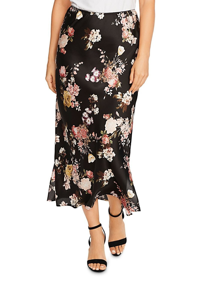 VINCE CAMUTO Beautiful Blooms Floral Satin Maxi Skirt