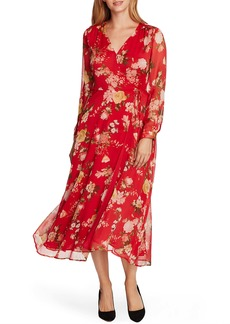 Vince Camuto Beautiful Blooms Long Sleeve Chiffon Dress