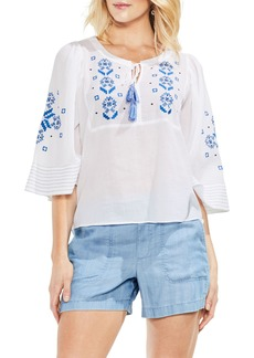 Vince Camuto Bell Sleeve Embroidered Cotton Gauze Top
