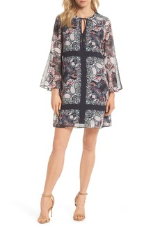 Vince Camuto Bell Sleeve Floral Chiffon Shift Dress