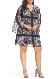 Vince Camuto Bell Sleeve Floral Chiffon Shift Dress (Plus Size)
