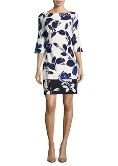 VINCE CAMUTO Bell-Sleeve Floral-Print Shift Dress