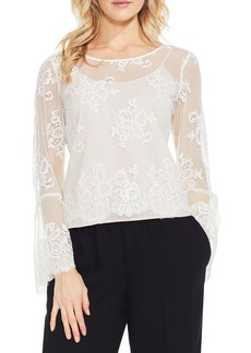 Vince Camuto Bell Sleeve Mesh Lace Blouse