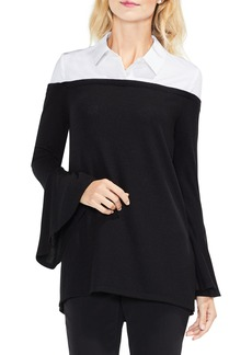 Vince Camuto Bell Sleeve Mix Media Jersey Top