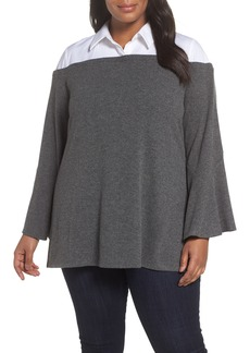 Vince Camuto Bell Sleeve Mixed Media Top (Plus Size)