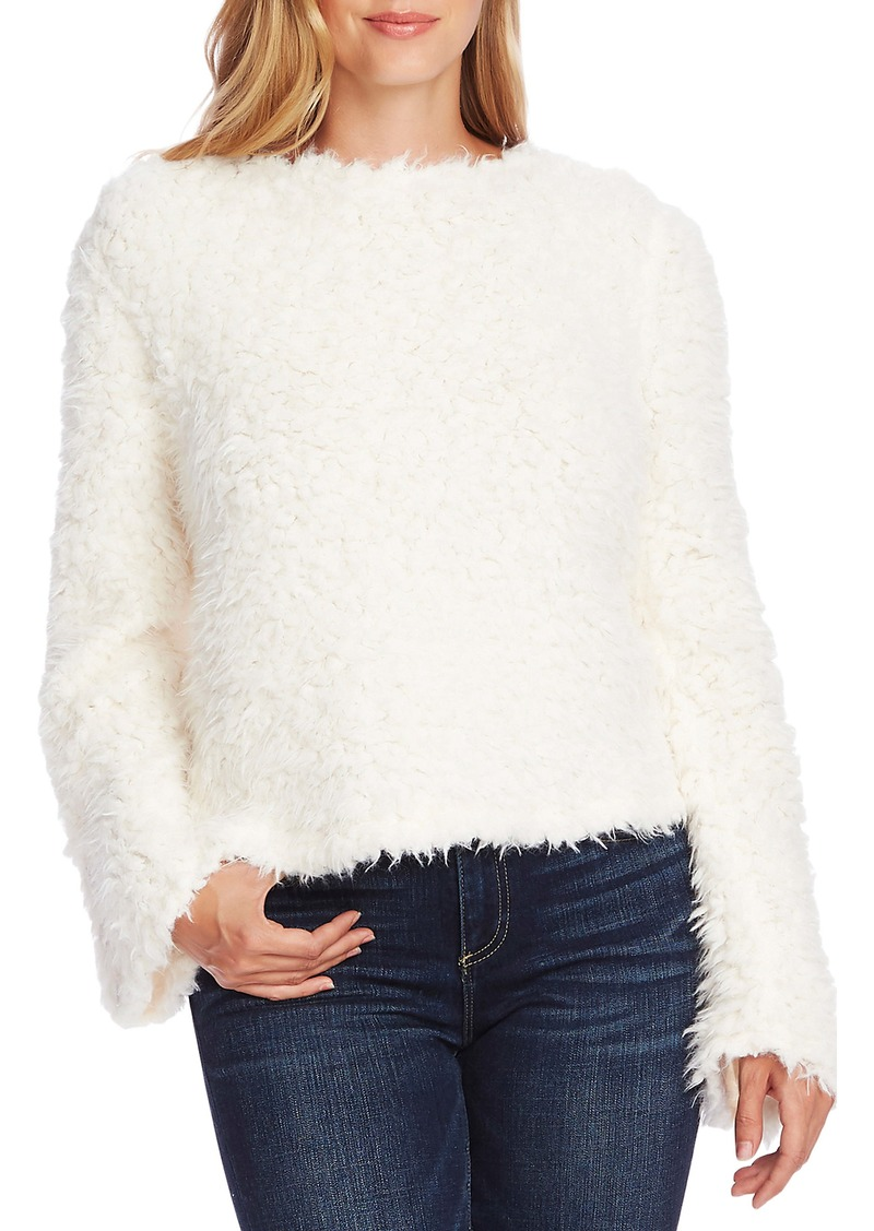 Vince Camuto Bell Sleeve Textured Faux Fur Top
