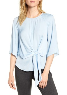 Vince Camuto Bell Sleeve Tie Waist Hammered Satin Blouse