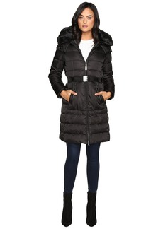 Vince Camuto Belted Down w/ Removable Hood and Faux Fur Collar J8691