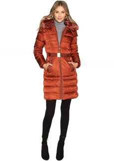 Vince Camuto Belted Down with Removable Hood and Removable Faux Fur Collar L8691