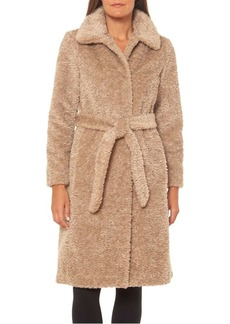 Vince Camuto Belted Faux Fur Teddy Coat