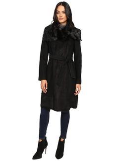Vince Camuto Belted Faux Fur Trim Wool Coat L1231