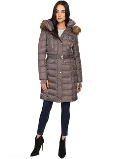 Vince Camuto Belted Faux Fur Trim Wool Coat Removable Hood and Trim L1571