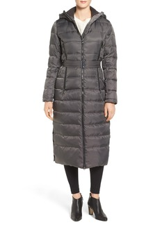 Vince Camuto Belted Hooded Down & Feather Fill Maxi Coat
