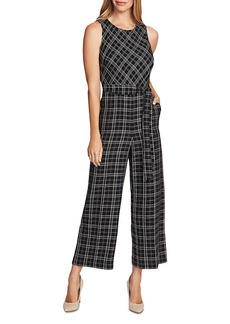 VINCE CAMUTO Belted Plaid Jumpsuit