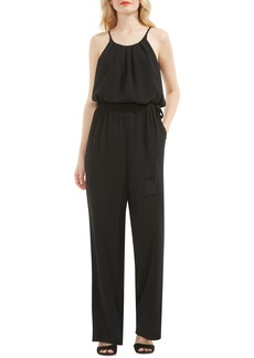 Vince Camuto Belted Pleat Neck Jumpsuit