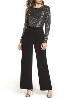 Vince Camuto Belted Sequin & Crepe Jumpsuit
