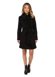 Vince Camuto Belted Sherpa Detail Wool Coat J8431