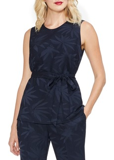 Vince Camuto Belted Sleeveless Jacquard Crepe Blouse