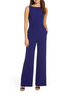 Vince Camuto Belted Sleeveless Stretch Crepe Jumpsuit (Regular & Petite)
