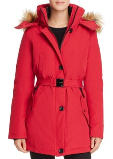 VINCE CAMUTO Belted Stand Collar Parka