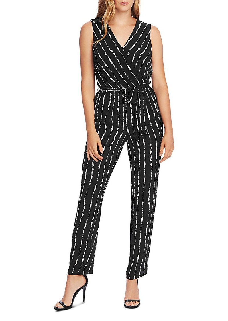 VINCE CAMUTO Belted Striped Sleeveless Jumpsuit