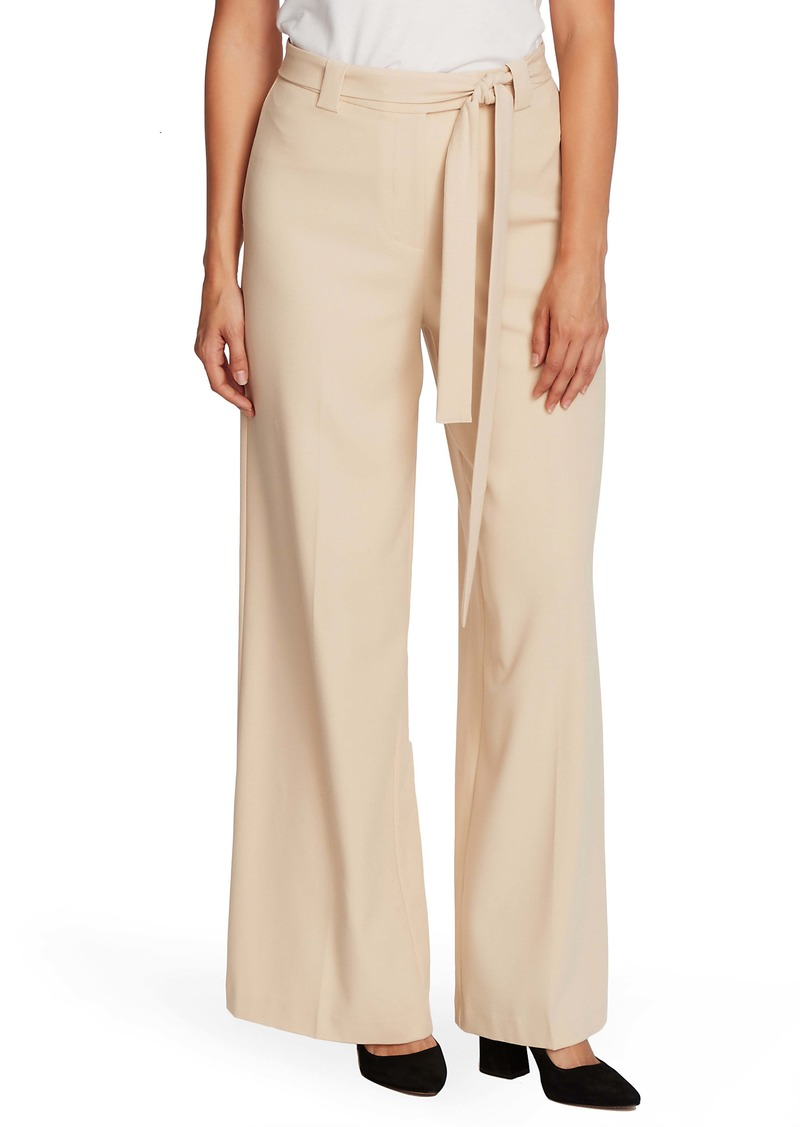 Vince Camuto Belted Wide Leg Textured Twill Pants