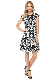 Vince Camuto Blister Knit Cap Sleeve Fit and Flare Dress
