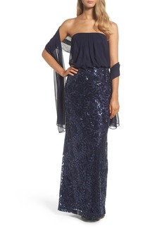 Vince Camuto Blouson Gown with Shawl