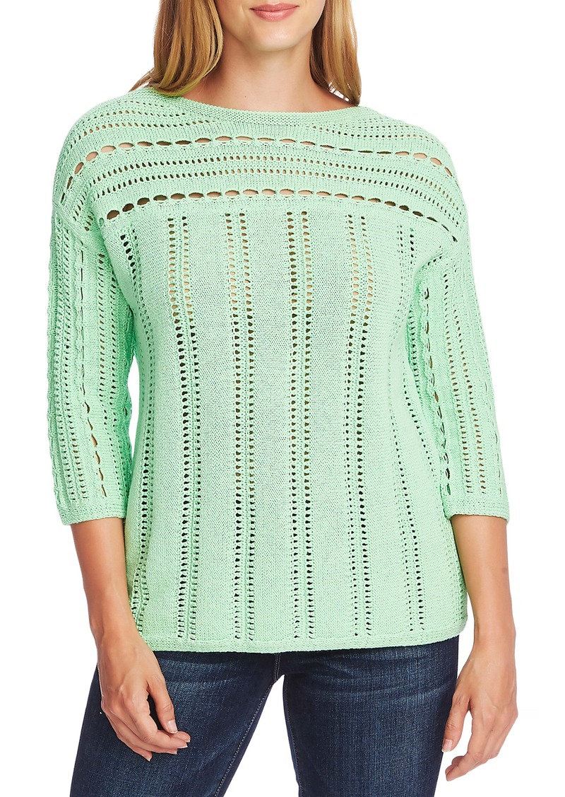 Vince Camuto Boatneck Pointelle Sweater