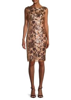 Vince Camuto Boatneck Sequined Dress