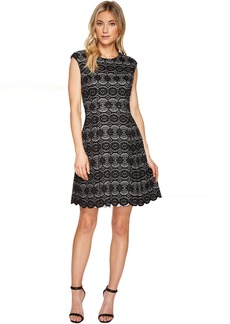Vince Camuto Bonded Lace Fit & Flare Dress