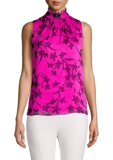 Vince Camuto Botanical-Print Smocked Neck Top