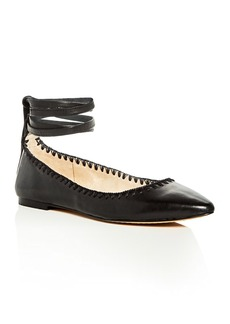 VINCE CAMUTO Braneeda Ankle Tie Pointed Toe Ballet Flats
