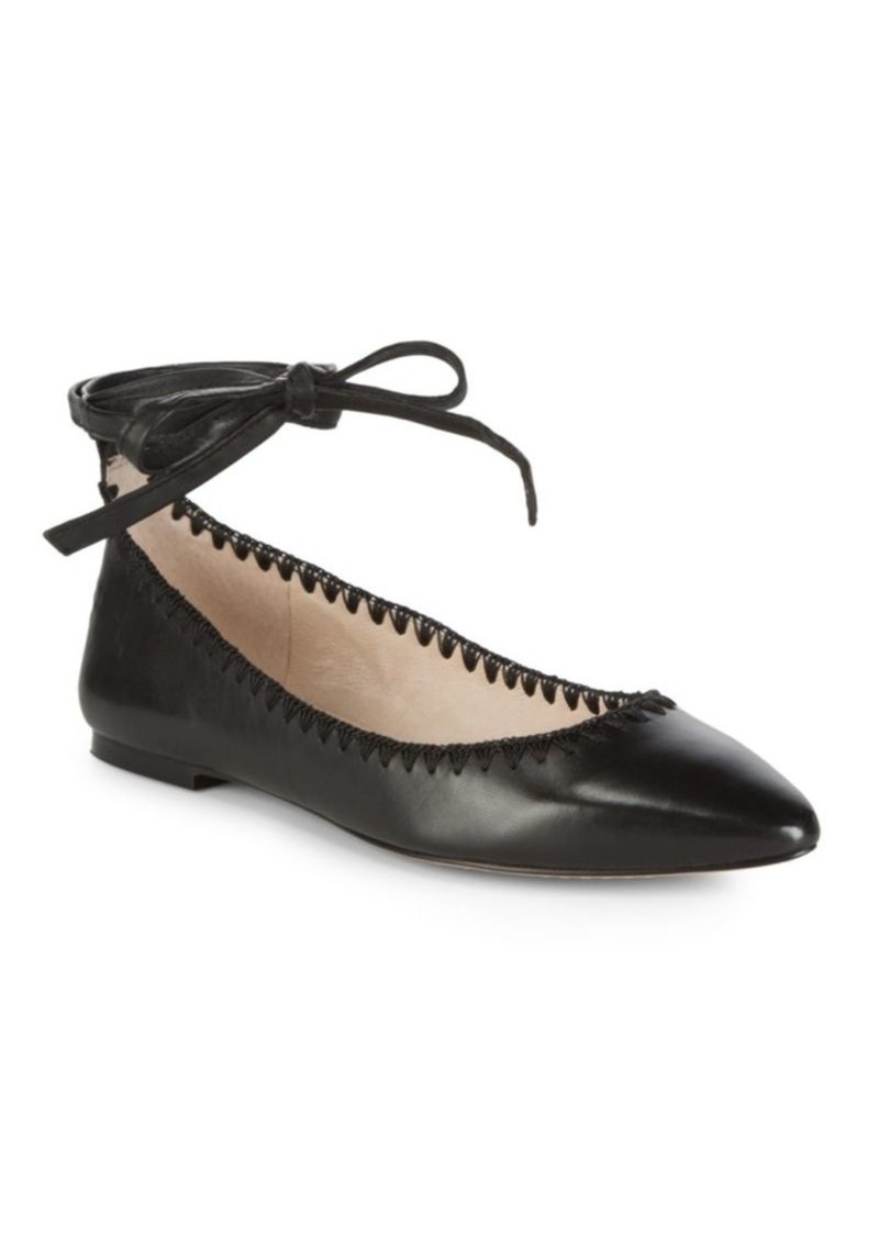 Vince Camuto Braneeda Leather Ankle-Strap Flats