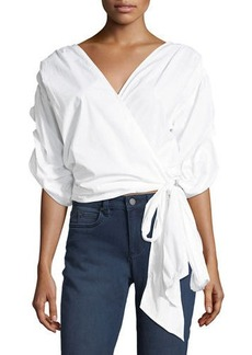 Vince Camuto Bubble-Sleeve Belted Poplin Wrap Shirt
