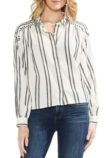 Vince Camuto Bubble Sleeve Embroidered Shirt