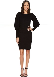 Bubble Sleeve Texture Jacquard Sweater Dress