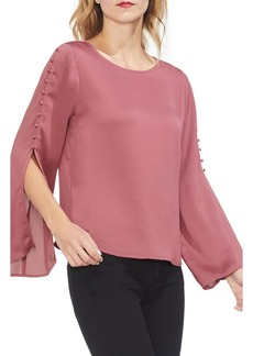 Vince Camuto Button Bell Sleeve Hammer Satin Top (Regular & Petite)