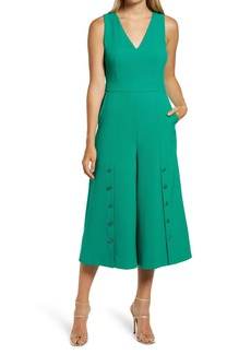 Vince Camuto Button Detail Crop Crepe Jumpsuit