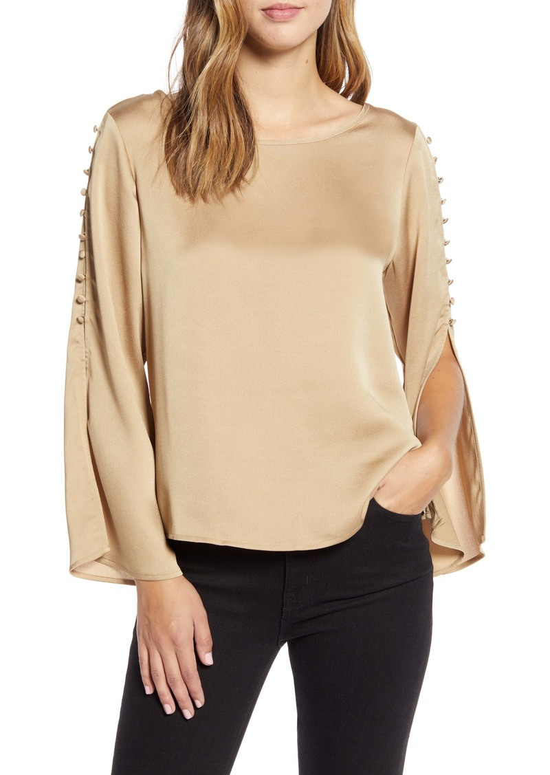 Vince Camuto Button Detail Slit Sleeve Hammered Satin Top